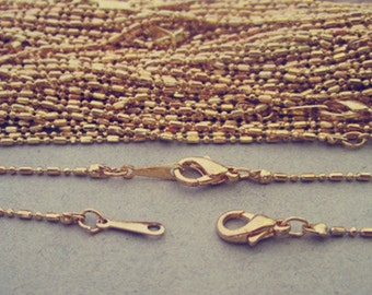 30pcs  1mm gold color necklace chain With lobster Clasp 42cm
