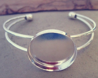 2pcs silver color bracelet  base 25mm