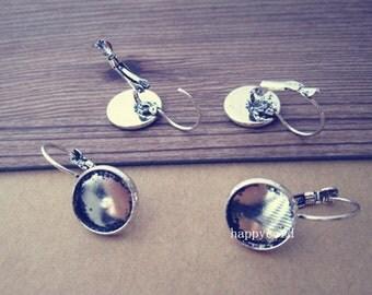 10 pcs antique silver (copper) ear hooks base  12mm