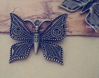 4pcs Antique bronze butterfly pendant Charms 47mmx54mm