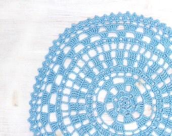 Light blue Crochet Vintage Doily