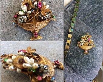 Vintage signed original by Robert lovely Russian gold basket brooch Haskell pearls and wired Rose Montees