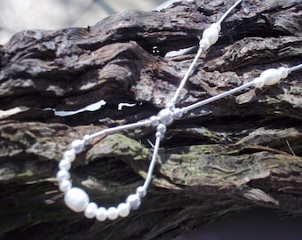 White freshwater pearl & sterling silver loop necklace