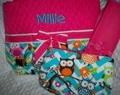 Chevron Owl 3 Piece Personalized Diaper Bag Set - Baby Girl Pink Owls Personalized Diaper Bag Set Embroidered with Name - Pink Aqua Chevron