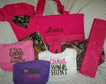 PERSONALIZED Camo & Hot Pink 8 Piece Baby Girl Gift Set Includes Diaper Bag, Changing Pad, Bodysuit, Burp Cloth, Pouch, and 3 Bibs