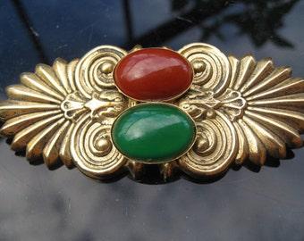 Carnelian and jade, gold retro brooch ~ coat wear