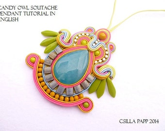 TUTORIAL ONLY Candy Owl Soutache Pendant Tutorial, written pattern in English, Soutache diy tutorial, instructions only