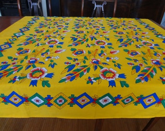 Tablecloth with traditional hand-blocked motif from Turkey - small square