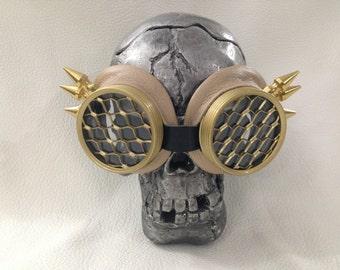 Burning Man Goggles, SteampunkGoggles, Eyewear, Steampunk, Tan Leather, Wing spikes, Honeycomb