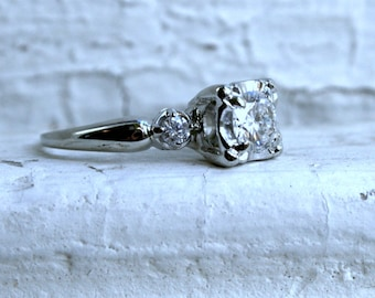 Vintage 14K White Gold Three Stone Diamond Engagement Ring - 0.86ct.