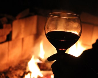 Art Photo: Wine Glass by Camp Fire