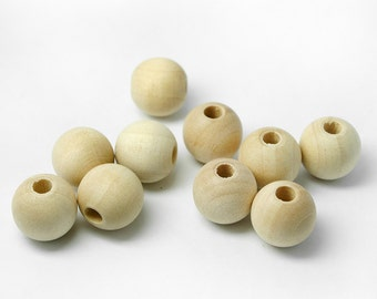 """50 Unfinished Wood Beads, 1/2"""" 12mm, 5/32"""" Hole, Made in USA (#1030)"""