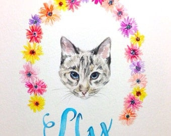 Custom Pet Portrait in Watercolor Personalized  with flowers and name- Corgi, Boston Terrier, Frenchie, Mother's Day Present, Gift Guide