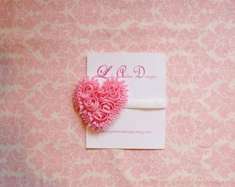 Light pink Chiffon heart on glitter headband / Newborn headband/ Holiday headband