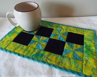 Mug Rug, Snack Mat, Coaster, Quilted, Coffee rug, batik, teal, lime green, flower, black, pinwheel, SALE, clearance