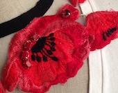 Embroidered Poppy Flower Statement Necklace