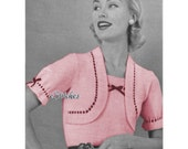 1950s Blouse with Attached Bolero and Puff Sleeves- Knit pattern PDF 1602