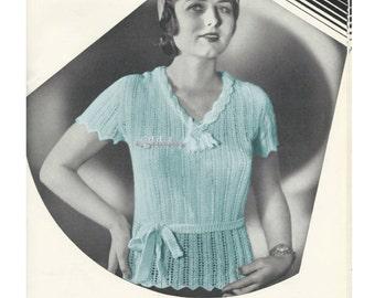 1930s Lacy V Neckline Top or Blouse  - Knit PDF pattern 5354