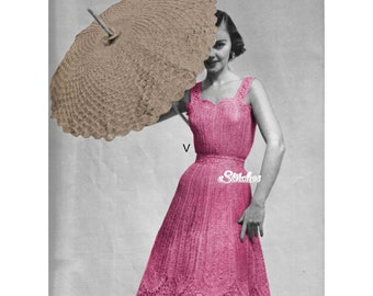1950s Lace Dress with Sweetheart Neckline and Parasol -  2 Crochet patterns PDF 1522