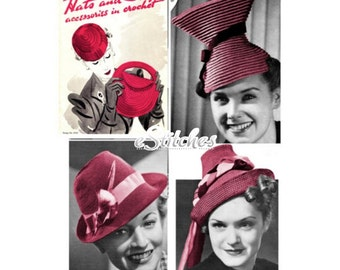 1930s Hats and Bags Accessories in Crochet Book No 126  - 17 Crochet patterns PDF 0126