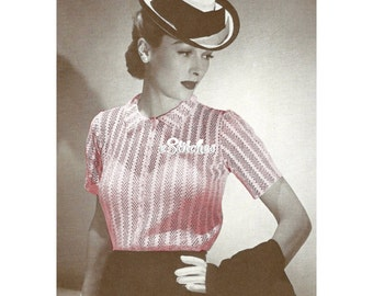 1940s Lacy Stripe See Through Suit Blouse with Collar - Crochet pattern PDF 1266