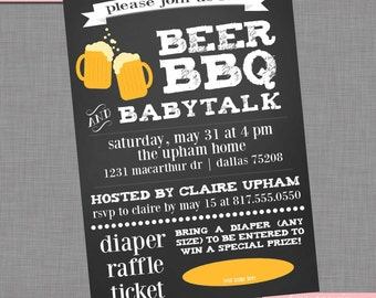 Coed Baby Shower Invitation | Beer BBQ and Baby Talk | Printable Couples' Custom Baby Shower Invitation | Item BA103