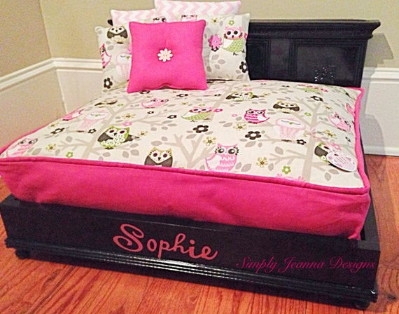 Hot Pink Cat Bed With Owl Fabric