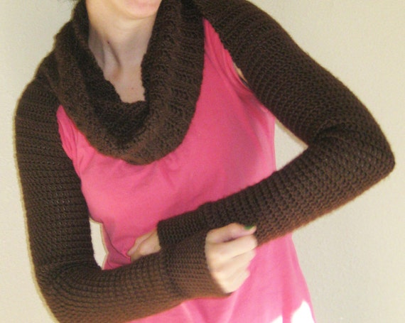 Crochet Twist Scarf Coverup LongSleeved Size by kickincrochet Twist Crochet Scarf