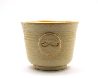 Wet Shaving Bowl with a Mustache, Cream Moustache Shave Cup,  Fathers Day Dad Grooming Gift for Men - Ready to Ship