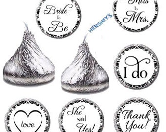 Bridal Shower Kiss Printable Sticker Labels, Bridal Shower Favors Candy Sticker, Damask Candy Labels, Kisses Labels, I Do Favors (004)