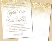 White Gold Sparkles Text-Editable Vertical Wedding Invitations: 5 x 7 - Instant Download