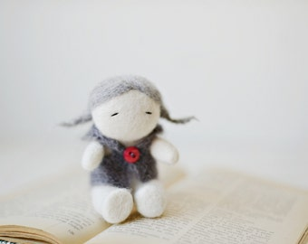 READY TO SHIP - Needle felted home decoration/ Lovely girl with red button / Felted doll / Wool sculpture / Grey Red wool / Valentines day