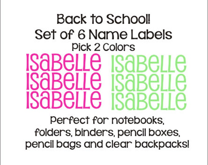 Set of Six Name Decals Name Labels Children Kids School Name Decals Labels Personalized Custom Notebook Binder Folder Decal Back to School