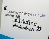 Hanukkah Card - Inspirational Anne Frank Quote - Light Defy Darkness - Candle Define Darkness - Blue White Friendship Christmas Faith AFK01
