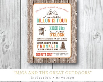 Bugs and the Great Outdoors Printed Invitations | Camping Birthday Party Invitation | Printed or Printable by Darby Cards