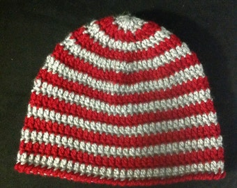 Grey and Red Striped Beanie