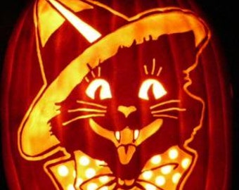 Vintage Halloween Cat Witch hand-carved on a foam pumpkin