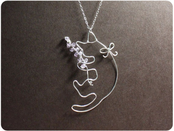 Cat and Lavender Necklace, Sterling Silver Cat Necklace, Cat Necklace, Crystal beads