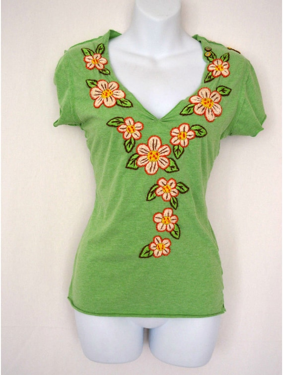 Items similar to green joystick embroidered flowers yellow