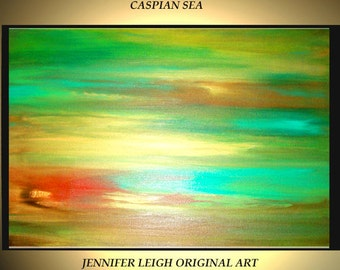 """Original Large Abstract Painting Modern Contemporary Canvas Art Gold Green Turquoise Caspian Sea  36""""x24"""" Palette Knife Texture Oil J.LEIGH"""
