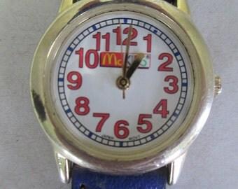 """Vintage child's watch """"McKids"""" demium style band  McDonalds watch"""