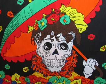 Dia de Muertos, Day of the Dead Fabric, Printed Lightweight Fabric