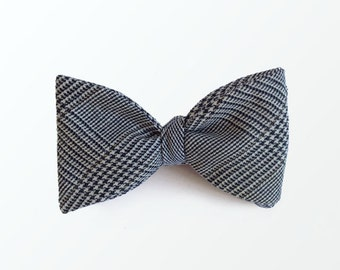 Men's Bow Tie,  Glen Plaid Bow Tie, Cotton bowtie Self Tie Bow Tie  Father's Day Gift Grandfather Gift / READY TO SHIP