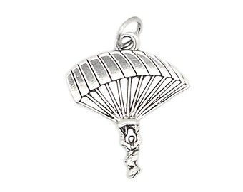 Sterling Silver One Sided Parachute Para Sailer Charm