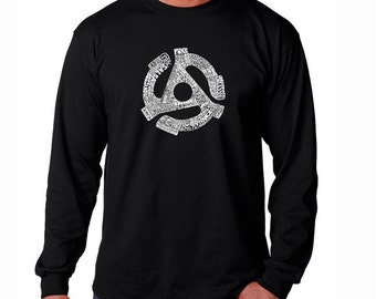 Men's Long Sleeve T-shirt - Record Adapter - Created using 63 Different Genres of Music
