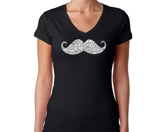 Women's V-neck T-Shirt - Created out of different Ways to Style a Moustache