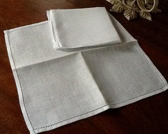 White Linen Hemstitched Napkins