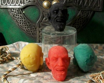 3 Zombie Head Small Beeswax Candle Choice Of Color Set of 3