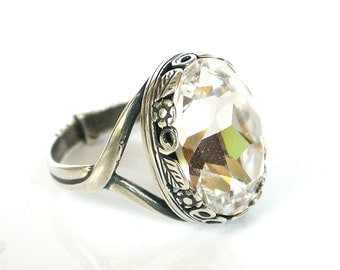 Swarovski Solitaire Ring - Victorian Engagement Ring - Victorian Gothic Jewelry