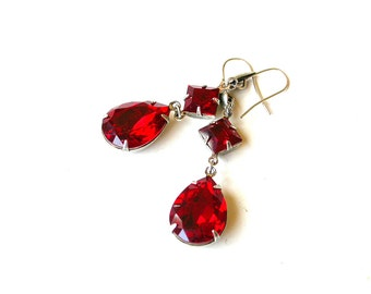 Swarovski Red Dangling Earrings Silver Victorian Bridal Jewelry